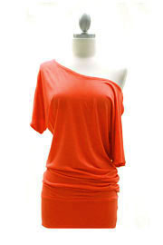 VICTORIA Jersey Short Sleeve Banded Off the Shoulder, Boat Neck Tunic Top-Orange