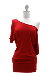VICTORIA Jersey Short Sleeve Banded Off the Shoulder, Boat Neck Tunic Top-Red