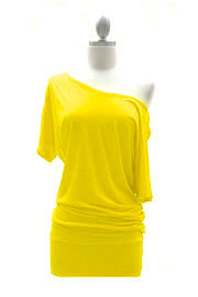 VICTORIA Jersey Short Sleeve Banded Off the Shoulder, Boat Neck Tunic Top-Yellow