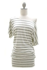 Striped VICTORIA Jersey Short Sleeve Banded Off the Shoulder, Boat Neck Tunic Top-Grey and Beige