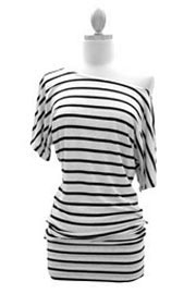 Striped VICTORIA Jersey Short Sleeve Banded Off the Shoulder, Boat Neck Tunic Top-Black and Beige
