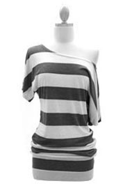 Striped VICTORIA Jersey Short Sleeve Banded Off the Shoulder, Boat Neck Tunic Top-Dark Grey and Beige