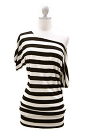 VICTORIA Jersey Short Sleeve Banded Off the Shoulder, Boat Neck Tunic Top-Striped Black & Beige