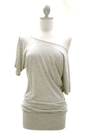 Striped VICTORIA Jersey Short Sleeve Banded Off the Shoulder, Boat Neck Tunic Top-Heather Grey and Beige