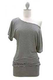 Striped VICTORIA Jersey Short Sleeve Banded Off the Shoulder, Boat Neck Tunic Top-Black and White