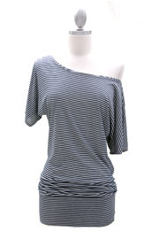 Striped VICTORIA Jersey Short Sleeve Banded Off the Shoulder, Boat Neck Tunic Top-Navy and White
