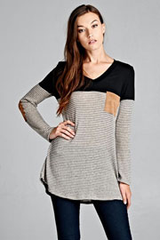 Striped Long Sleeve V-Neck Suede Elbow Patch Color Block Top-Black