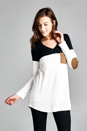Long Sleeve V-Neck Faux Suede Elbow Patch Color Block Top-Black & White