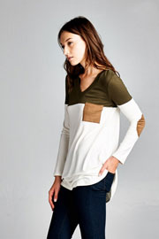 Long Sleeve V-Neck Faux Suede Elbow Patch Color Block Top-Olive Green & White