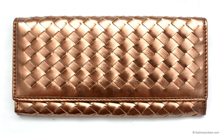 :As Seen in PEOPLE MAGAZINE: Faux Leather Woven Wallet-Bronze