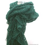 Light Weight Soft Crochet Ruffle Scarf-Forest Green from fashionjunkee.com