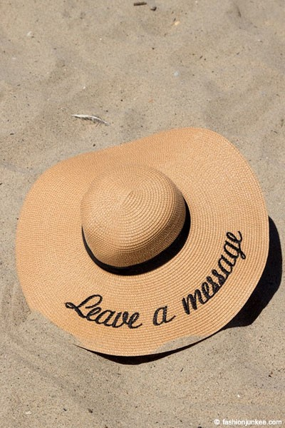 "Embroidered ""Leave a Message"" Large Oversized Wide Brim Straw Hat-Khaki Brown (50% OFF - NO CODE NEEDED)"