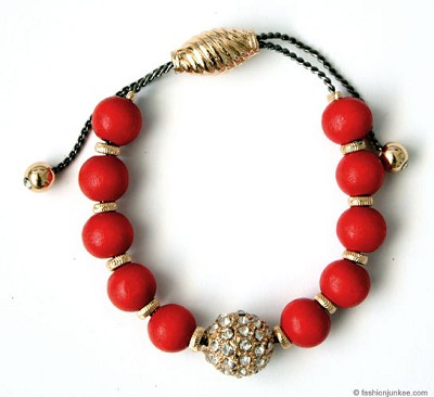 :As Seen In REDBOOK Magazine: Round Beaded Bracelet with Rhinestone Ball-Red