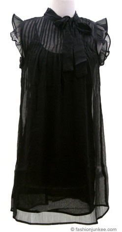 Chic Chiffon Shift Trapeze Mini Dress, Neck Tie-Black