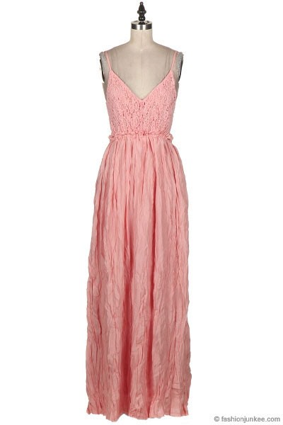 ... Open Back Crochet Maxi Full Length Bridesmaid Dress-Coral Pink