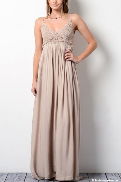 Backless Open Back Crochet Maxi Full Length Bridesmaid Dress-Taupe