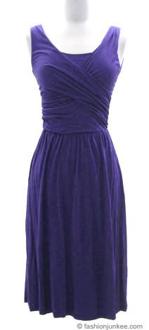 Jersey Cross Over V-Neck Vintage Cocktail Dress-Blue