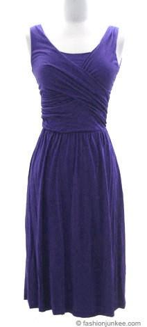 Jersey Cross Over V-Neck Vintage Cocktail Dress-Blue