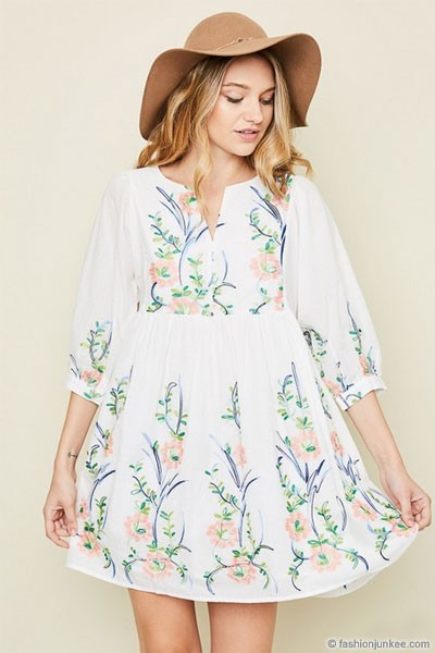 Cotton gauze floral embroidered spring mini dress white
