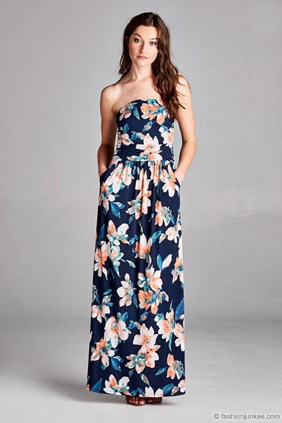 fa7f3091600 ... jersey strapless tube floral maxi dress with pockets navy blue ...