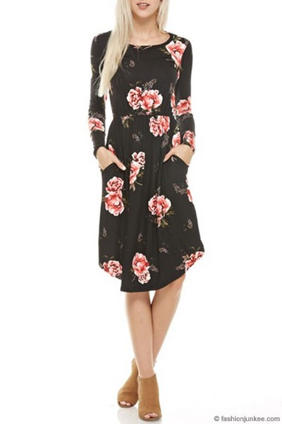 Floral Long Sleeve Midi Dress with Round Hem & Pockets-Black & Burgundy