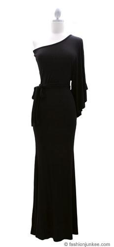 Belted Jersey Long Full Length One Shoulder Kimono Dress Black