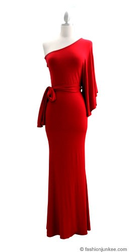 Belted Jersey Long Full Length One Shoulder Kimono Dress Red