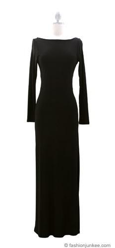 Full Length Long Sleeve Backless Evening Dress Black
