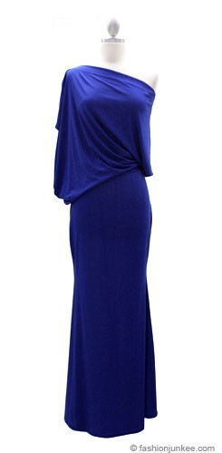 :As Seen In US WEEKLY: Long Full Length Jersey Boat Neck Off the Shoulder Dress-Blue