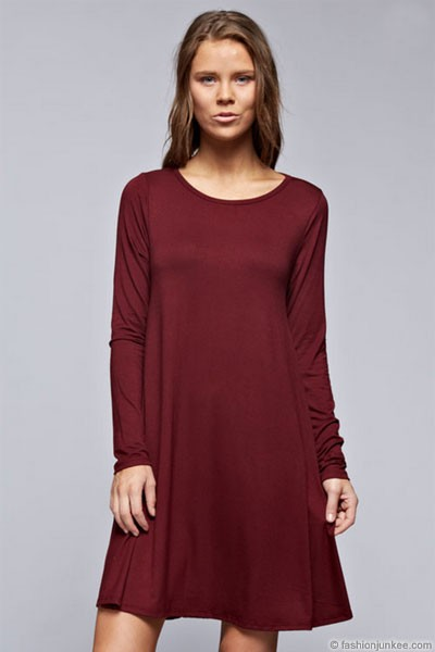 Long Sleeve Jersey A-Line Tunic Dress with Pockets-Burgundy Dark Red