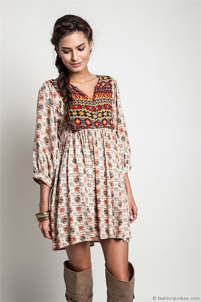 Plus Size Bohemian Printed Baby Doll Tunic Shirt Dress-Taupe