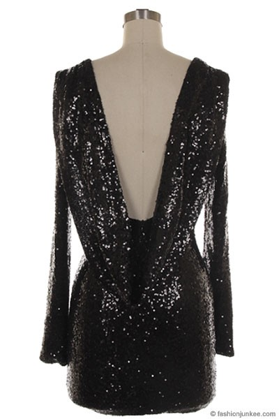 Sequin Backless Draped Open Back Long Sleeve Mini Dress Black