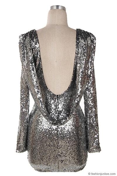 Sequin Backless Draped Open Back Long Sleeve Mini Dress Silver