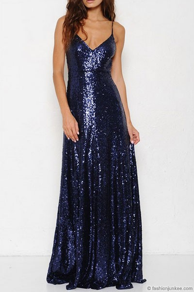Backless Open Back Sequin Full Length Maxi Dress Navy Blue