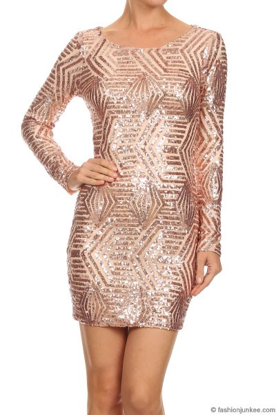 Sequin Long Sleeve Low Cut V Neck Mini Dress Blush
