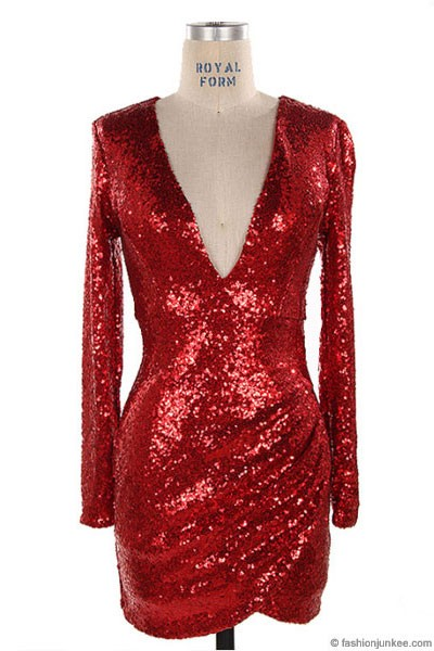 Plus Size Sequin Long Sleeve Low Cut V Neck Mini Dress Red