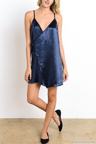 Satin Slip Dress With Side Tie Navy Blue