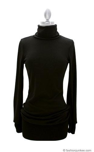 Long Sleeve Knit Turtleneck Sweater Mini Dress Ribbed Black