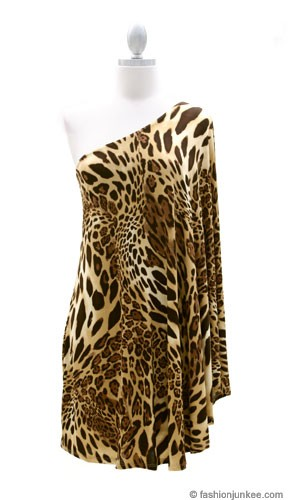 One Shoulder Dress With Winged Kimono Slit Sleeves Leopard