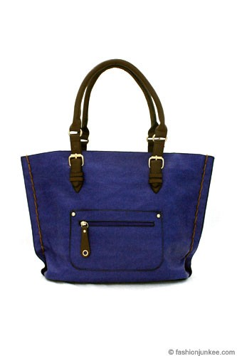 Thick Stitch Large Oversized Carryall Tote-Blue