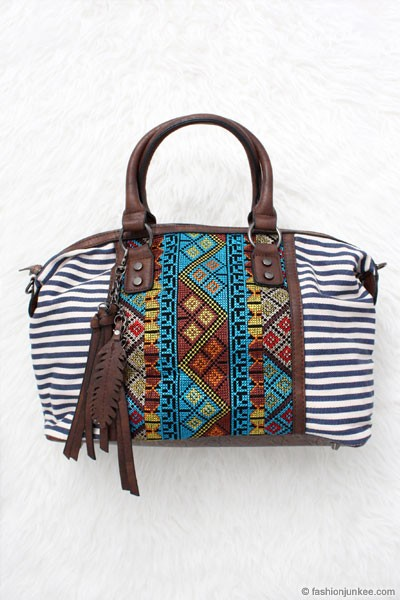 FLASH SALE:Bohemian Striped Tribal Print Handbag with Feather Detail-Navy Blue