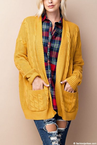 Knit Long Sleeve Open Front Cardigan Sweater with Pockets-Mustard ...