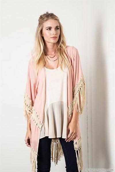 Crochet Fringe Kimono Cardigan-Pink