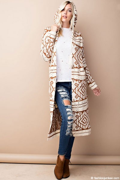 Hooded Tribal Aztec Geometric Print Open Front Cardigan Jacket-Off ...