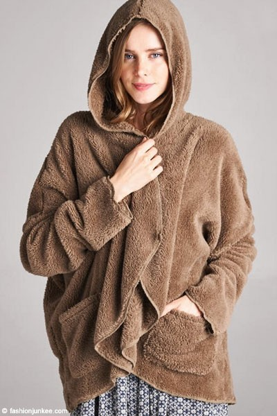 Long Sleeve Hooded Plush Faux Fur Jacket with Pockets-Mocha Brown