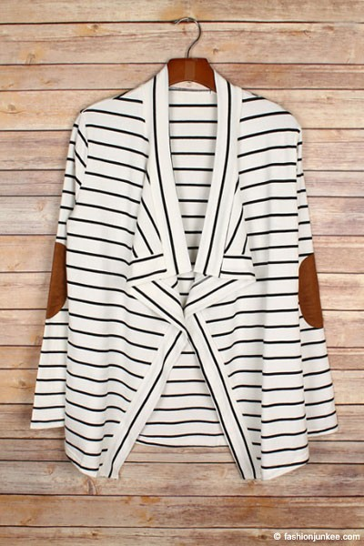 Draped Striped Open Cardigan with Suede Elbow Patch-Off White & Black