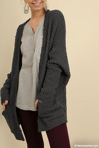 Long Sleeve Knit Open Front Cardigan Sweater with Pockets-Grey