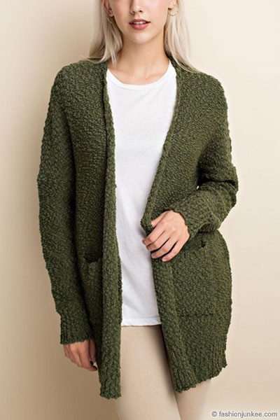 Sleeve Knit Open Front Cardigan Sweater with Pockets-Olive Green