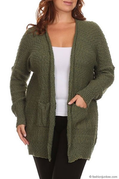 SIZE Long Sleeve Knit Open Front Cardigan Sweater with Pockets ...