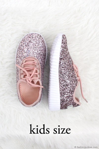 KIDS' SIZE - Girls Lace Up Glitter Bomb Sneakers Shoes-Pink- (LIMITED TIME SALE!)